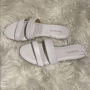 Talbots White Sandals Slides Size 9
